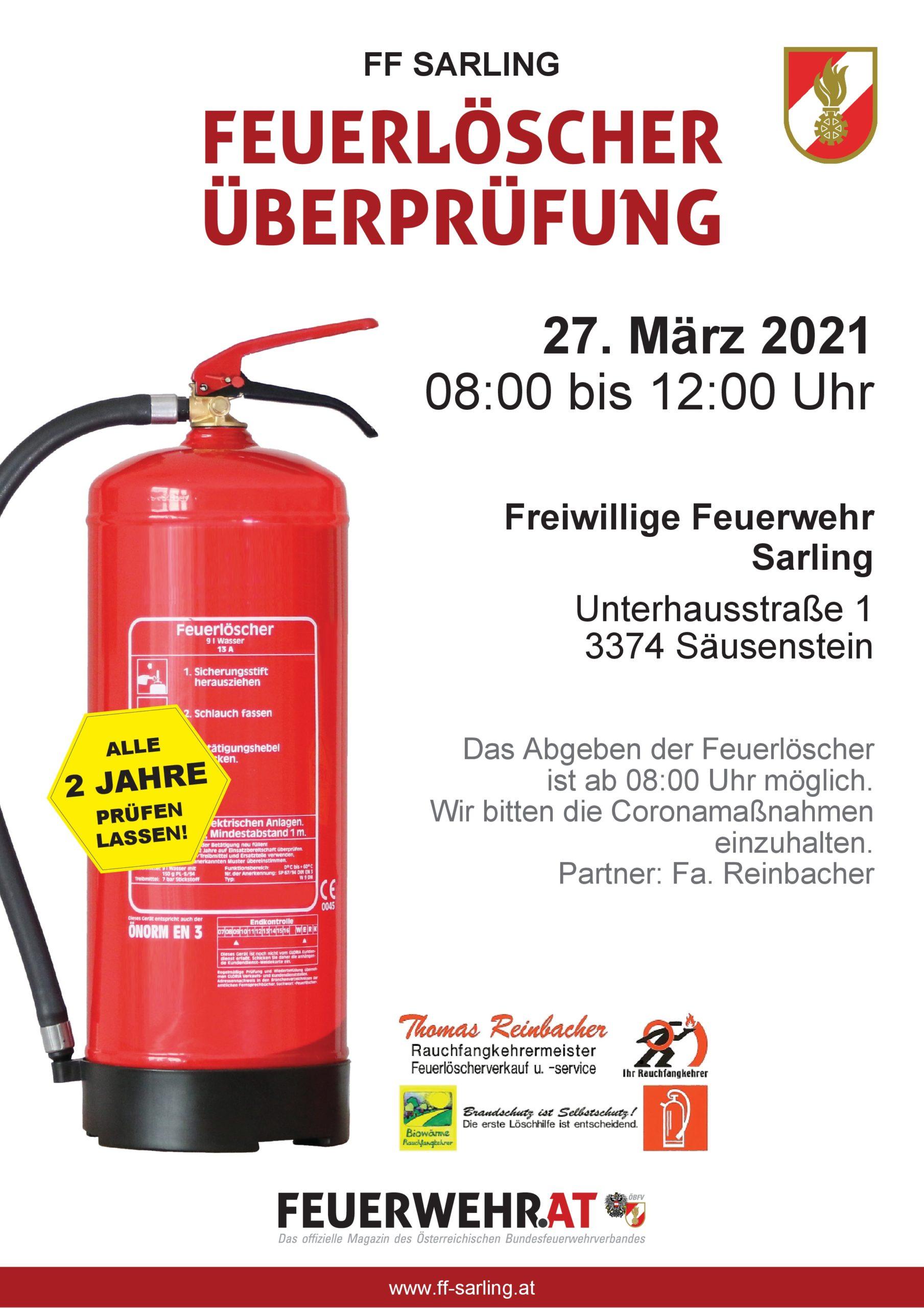 Feuerlöscherüberprüfung 27. März 2021